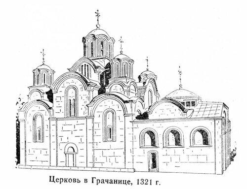 Церковь в Грачанице, общий вид, рисунок