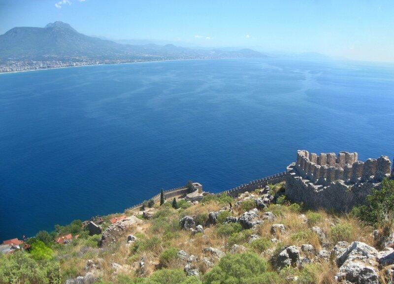 Ичкале - крепость на горе в Аланьи - Смотровые площадки, Руины, Море, Крепость, Горы - turkey, alanya