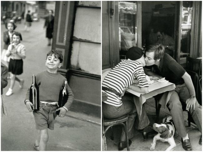 Rue Mouffetard, Париж, 1952 (слева). Влюбленные, Париж, 1969 (справа)