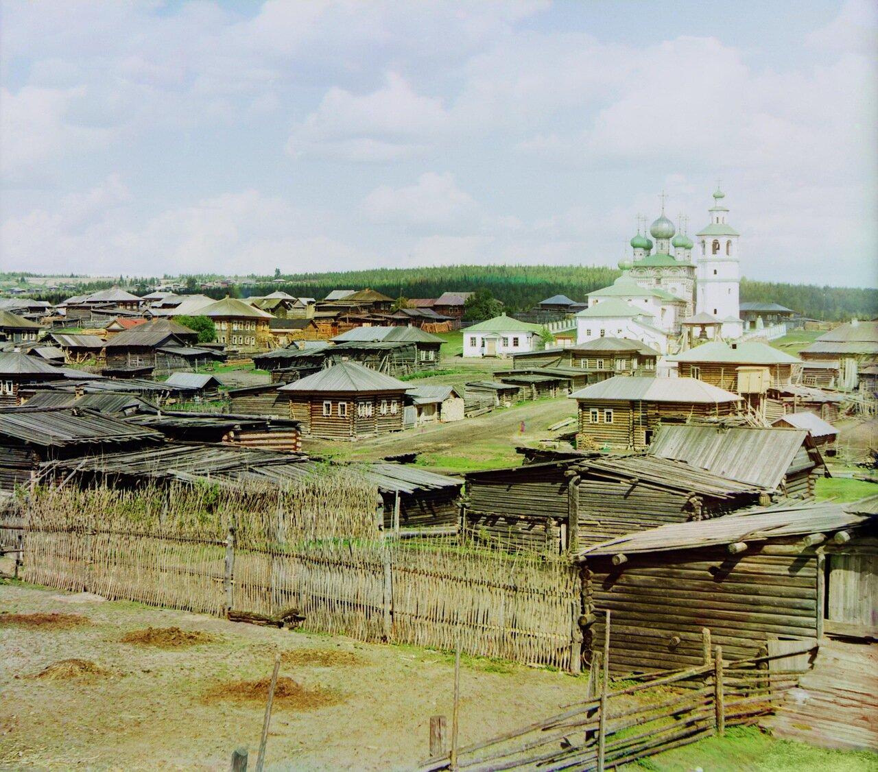 Вид с юго-запада на среднюю часть села Ныроб. Не ранее 1912.