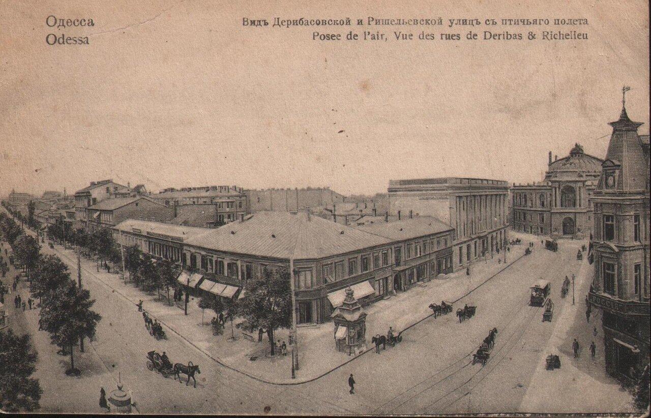 Вид Дерибасовской и Ришельевской улиц с птичьего полета