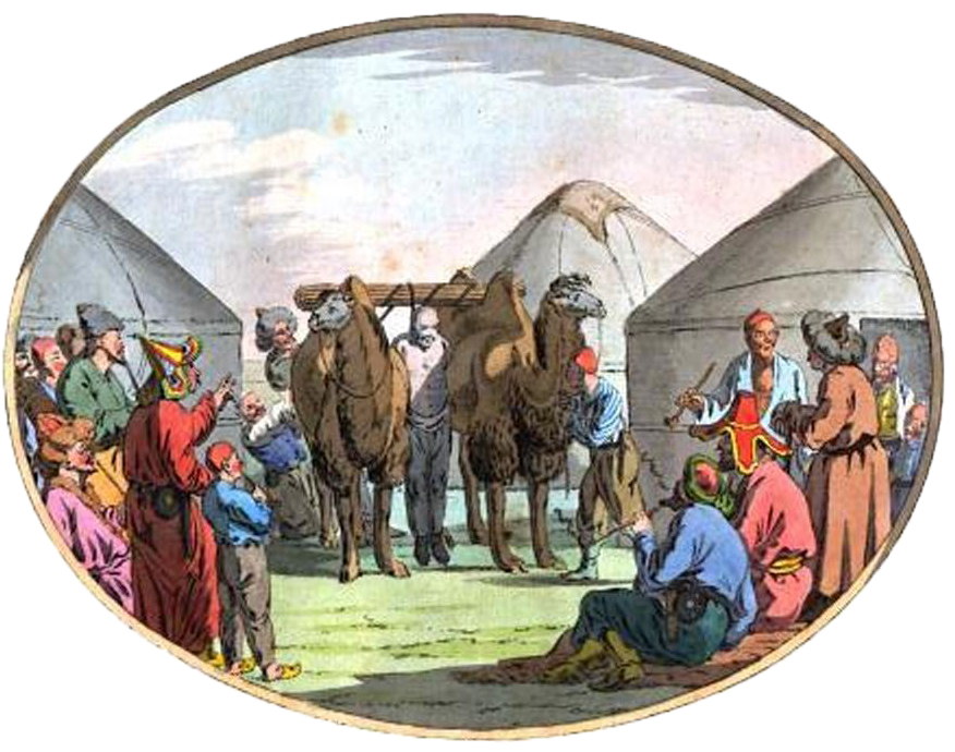 10. Киргизские виселицы [жердь, перекинутая на двух верблюдах] / potence des kirgis / ein kirgisischer galgen.