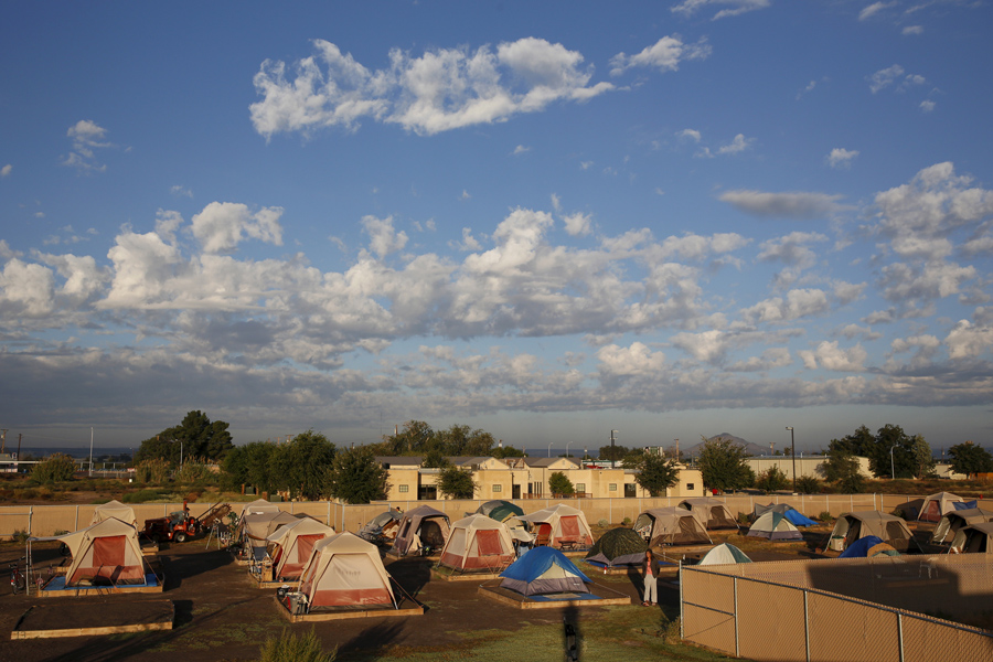 Clouds pass above Camp Hope in Las Cruces, New Mexico, on October 6, 2015. Camp Hope describe themse