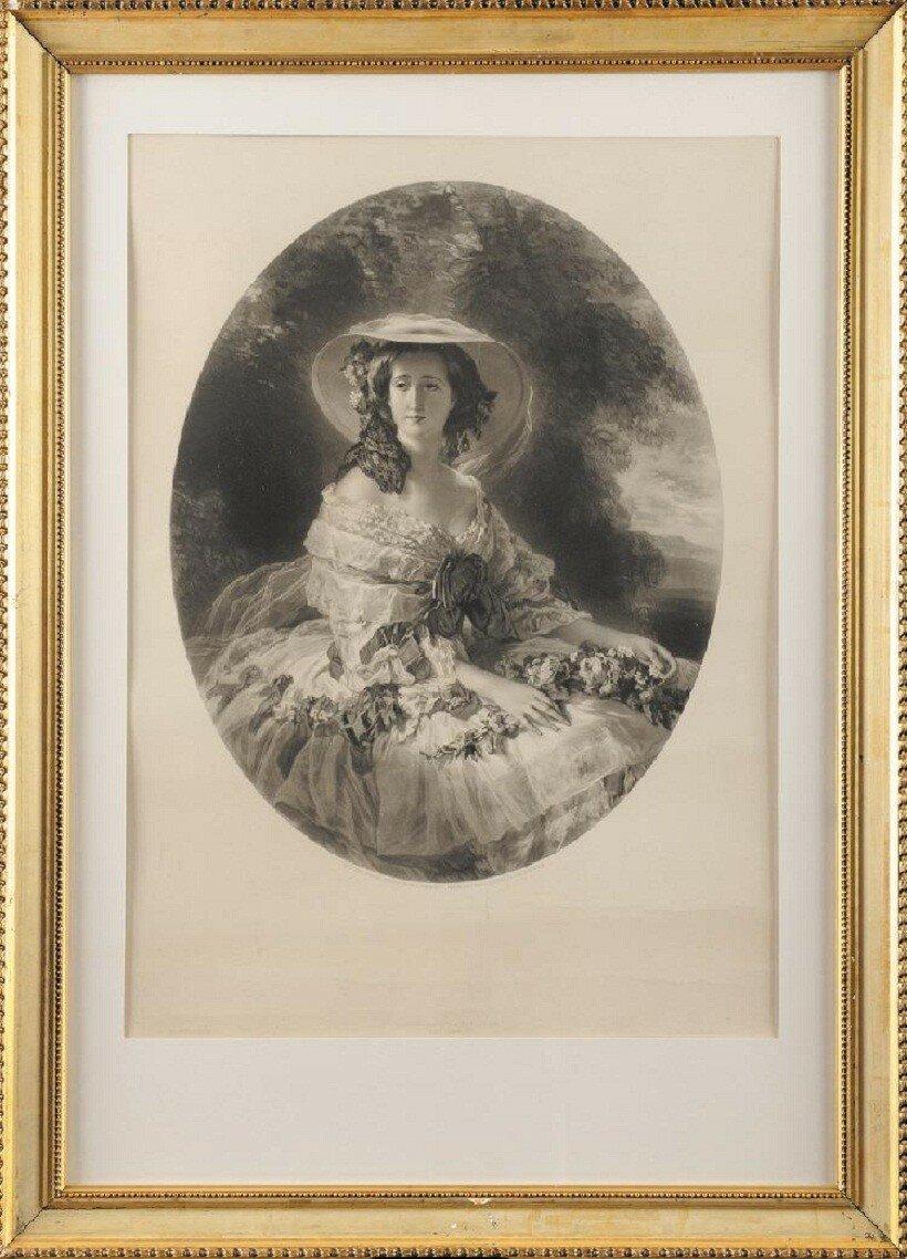 FRANZ XAVER. WINTERHALTER (1805-1873), d'après. « L'Impératrice Eugénie dans un décor champêtre.