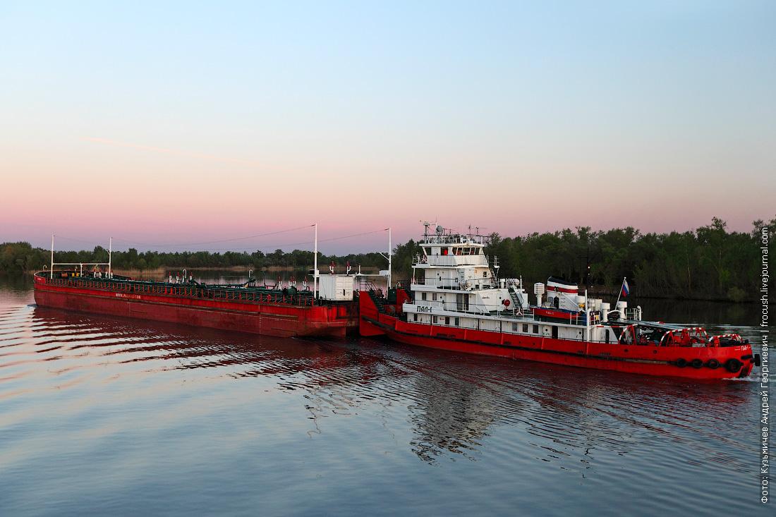 Дон. Состав: буксир-толкач «ПАЛ-1» и нефтеналивное несамоходное судно «Палойл-1»