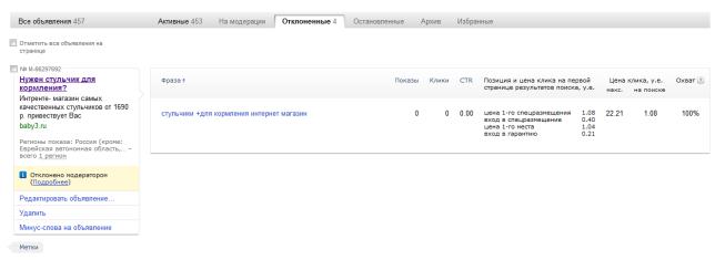 Яндекс директ отклонено модератором как прорекламировать товар совок металлический