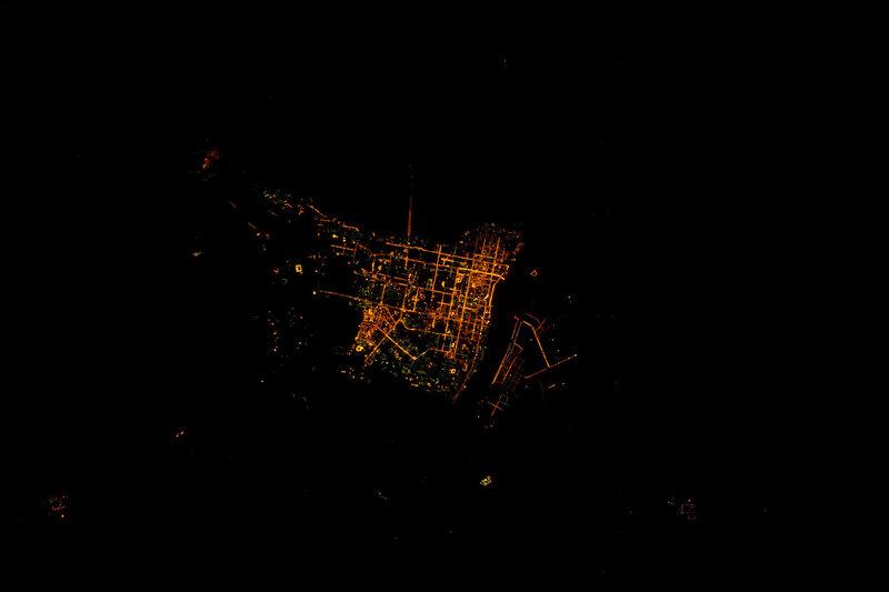 Благовещенск ночью из космоса