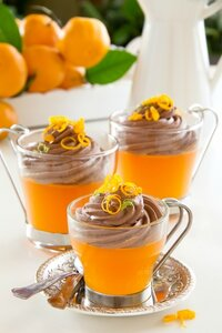 Orange jelly with chocolate mousse. Selective focus.