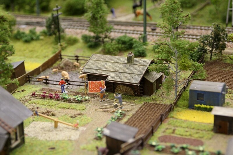 Гранд макет: сады и приусадебное хозяйство. Поливает урожай капусты, выбивает ковёр, рубит дрова. У хлева в грязи свиньи. На соседнем участке вместо домика вагончик.