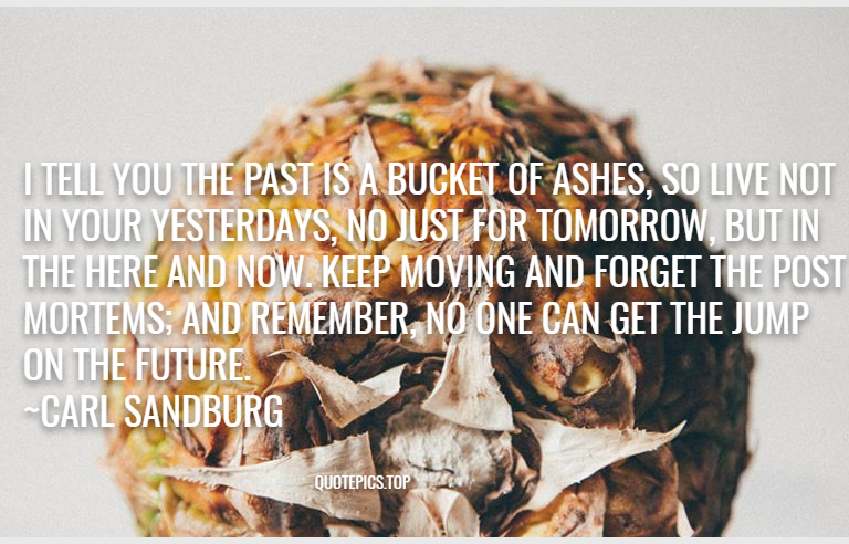 I tell you the past is a bucket of ashes, so live not in your yesterdays, no just for tomorrow, but in the here and now. Keep moving and forget the post mortems; and remember, no one can get the jump on the future. ~Carl Sandburg