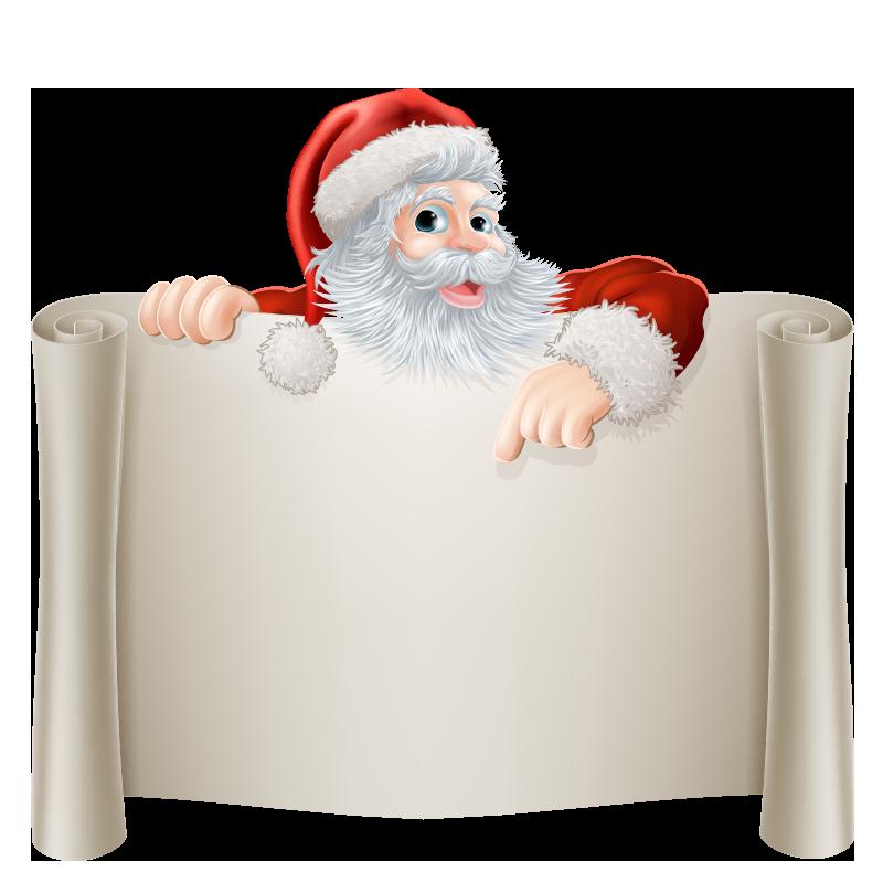 Дед Мороз с новогодними плакатами