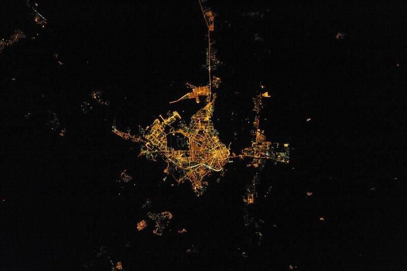 Ночной Оренбург из космоса