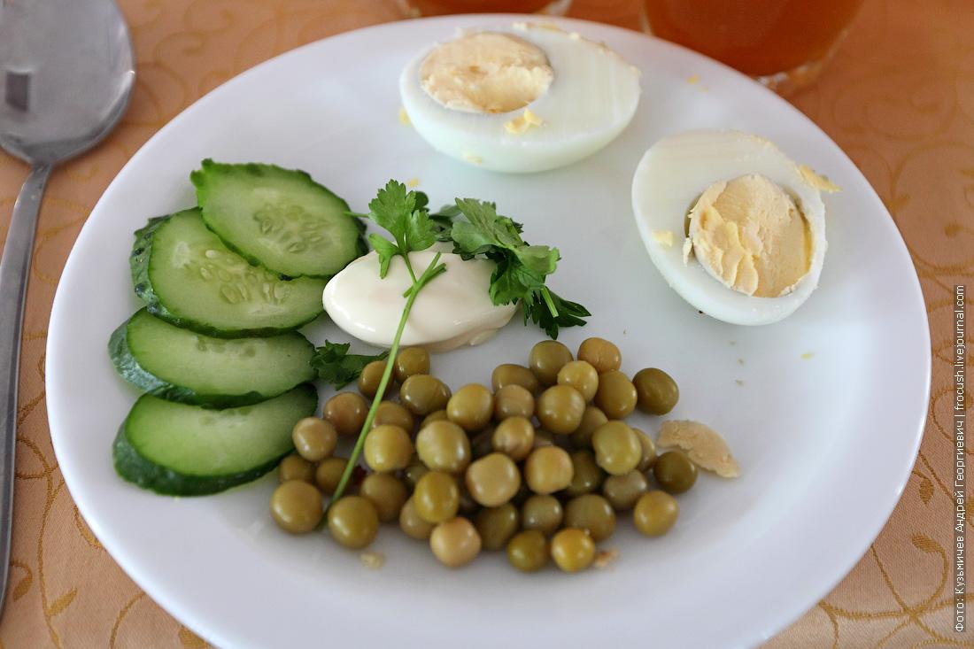 Яйцо под майонезом с зеленым горошком