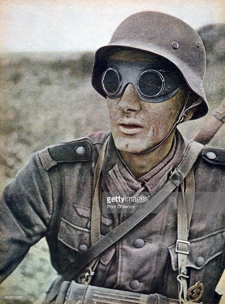German motorcycle trooper invading eastwards, Russia, 1942. A print from Signal, September.jpg