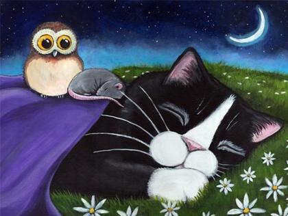 Спокойной ночи! Кошка, мышка и совенок открытки фото рисунки картинки поздравления