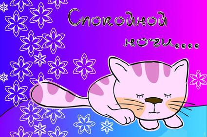 Спокойной ночи! Спящая киса открытки фото рисунки картинки поздравления
