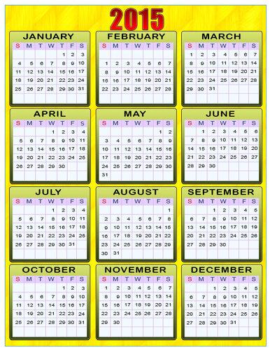 Календарь 2015. Желтый фон. calendar 2015 открытка поздравление картинка