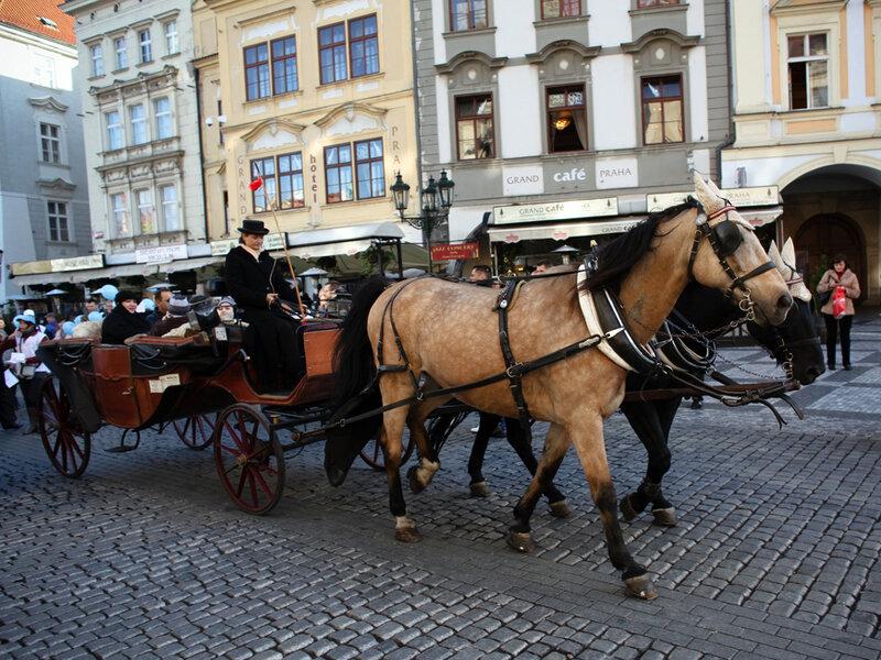 Катание в карете на Староместской площади
