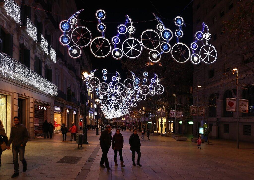 Ночная Барселона. Улица Портал-дель-Ангел