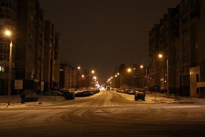 Огни на ул. Некрасова, вид от Октябрьского проспекта