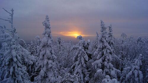 Вид с вершины горы Дед-камень (скала к югу от Ревды, Свердловская область) за пять минут до захода Солнца. Автор фотографии - Ольга Остроушко