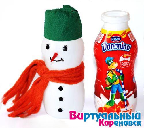 Как сделать снеговика из пластиковой бутылки своими руками