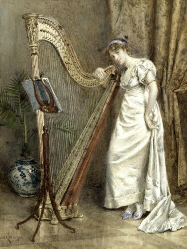 George Goodwin Kilburne (British, 1839-1924) The Harpist.