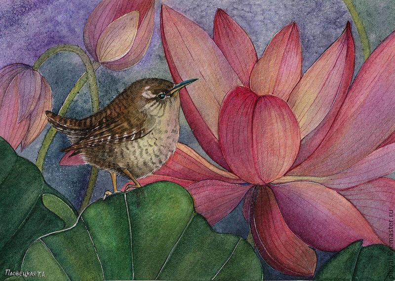 Картина акварелью Цветы и птицы