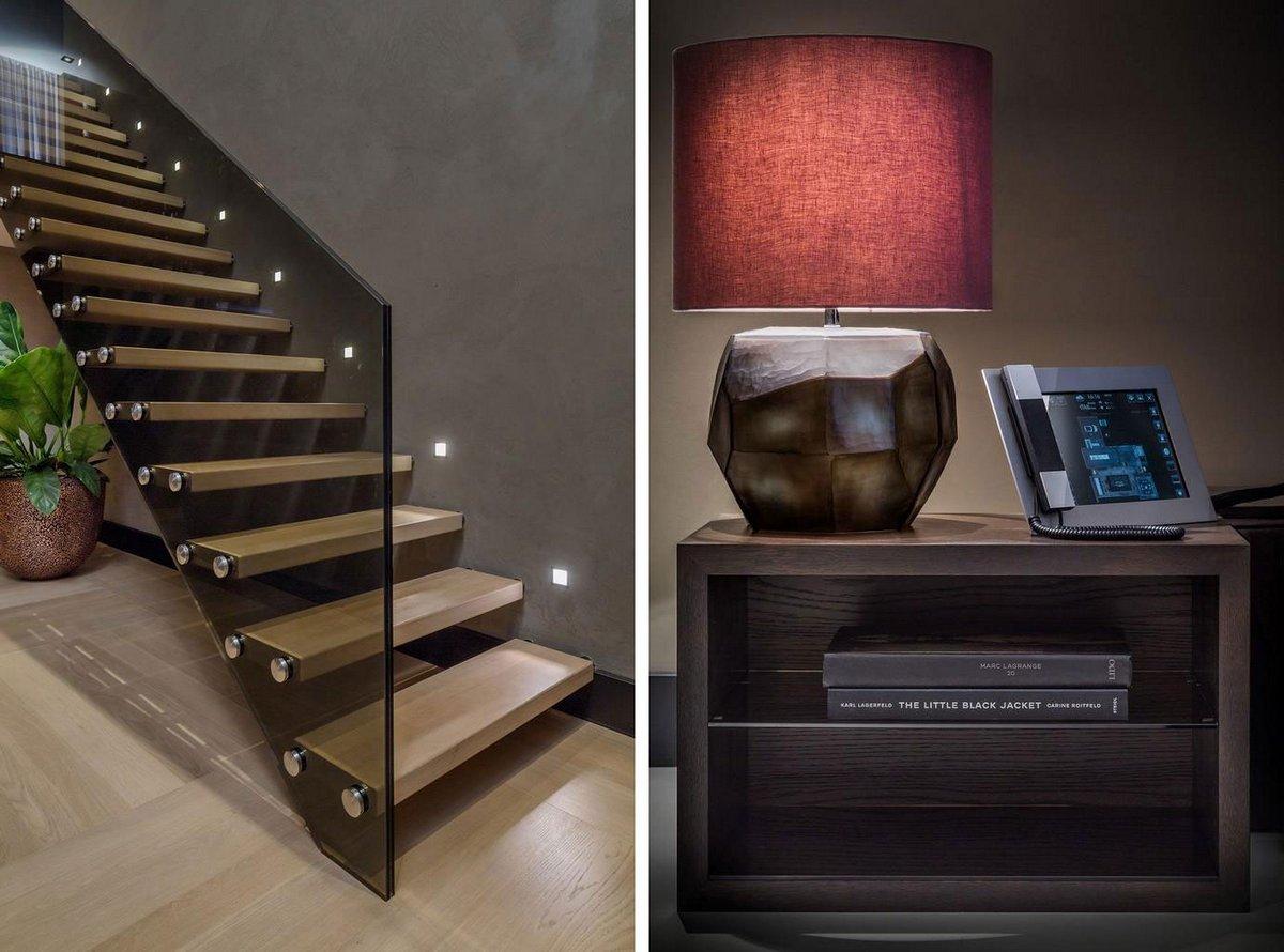 KOLENIK Eco Chic design, частный дом в Роттердаме, элитные дома в Нидерландах, шикарный интерьер частного дома, стол из оникса, темный интерьер дома