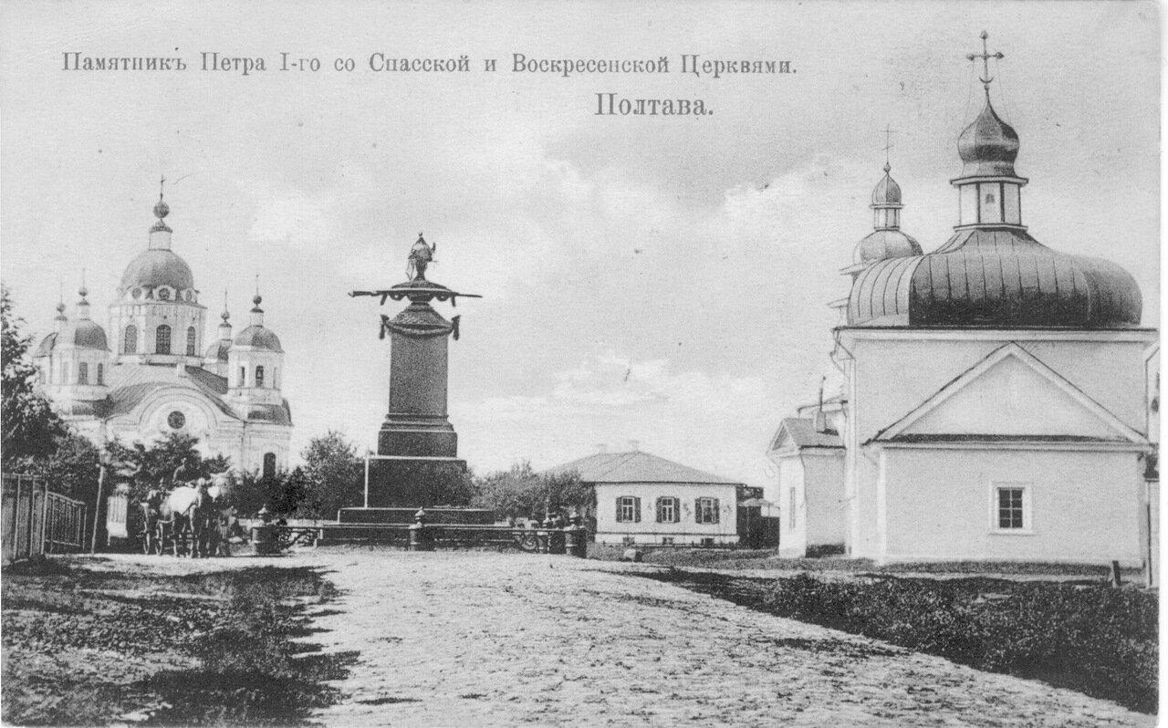 Памятник Петра со Спасской и Воскресенскими церквями