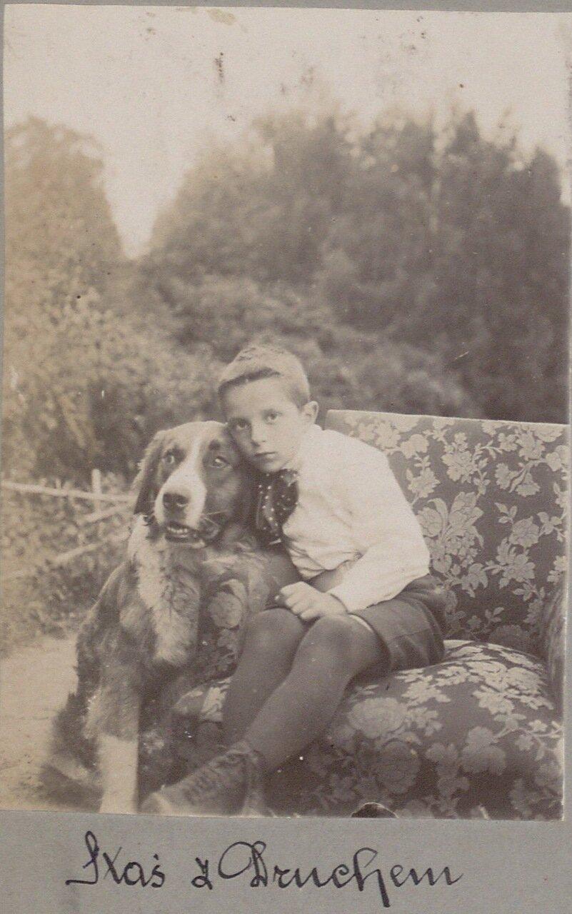 Хозяйский сын с собакой