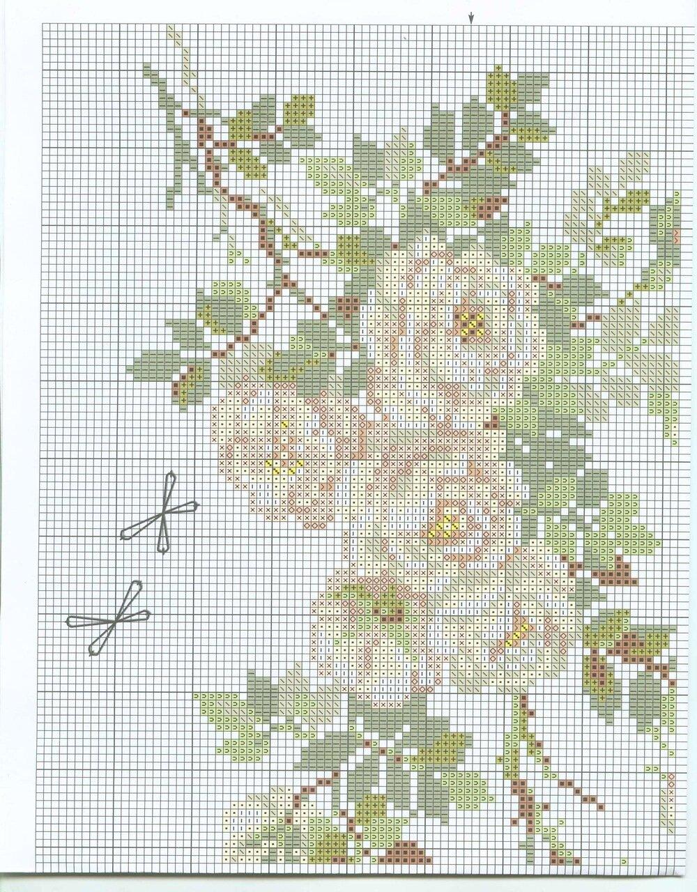 Белая роза схема вышивка