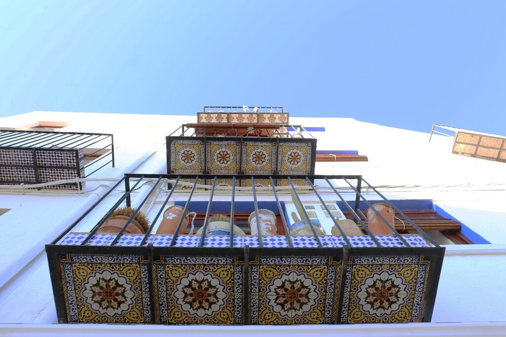 Peniscola. Peniscola.balcony tiles. Tiled balcony. ceramics