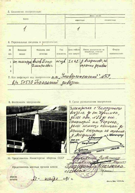 Учетная карта воинского захоронения политрука Ежова, Агафоново