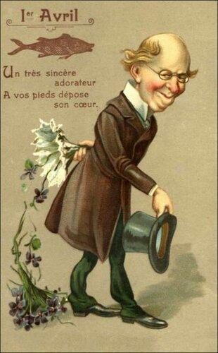 1 апреля. Господин с букетом фиалок открытка поздравление картинка