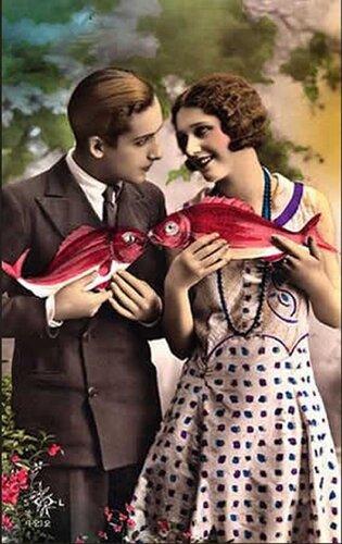 1 апреля. Красные рыбки открытка поздравление картинка