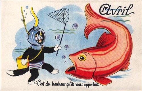 1 апреля. Рыба и кот открытка поздравление картинка