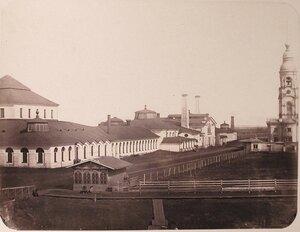Вид зданий мастерских Адмиралтейских Ижорских заводов (слева направо) сборочной, чугуннолитейной, большой слесарной.