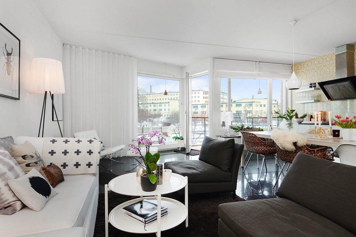 Скандинавский дизайн, квартира в Стокгольме, скартира в швейцарском стиле, квартиры в Швеции, светлый интерьер квартиры, двухкомнатная квартира дизайн