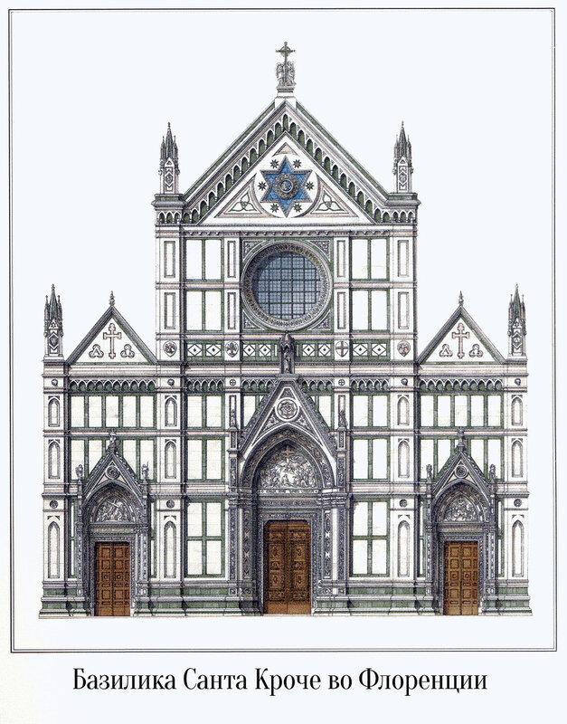 Базилика Санта Кроче во Флоренции, чертеж главного фасада