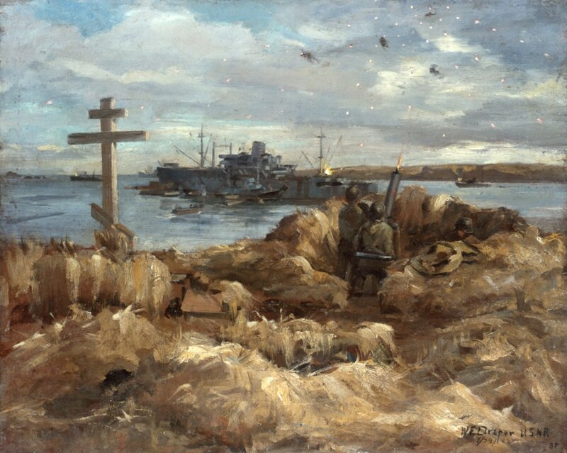 William F. Draper - War and Peace (Ack-Ack fire Near A Russian-Aleut Grave) (1942) The peace of an Aleut grave, marked by a Russian Orthodox Cross, is shattered by the staccato barking of a 50-caliber gun as it unleashes a barrage of bullets at attacking Japanese planes.
