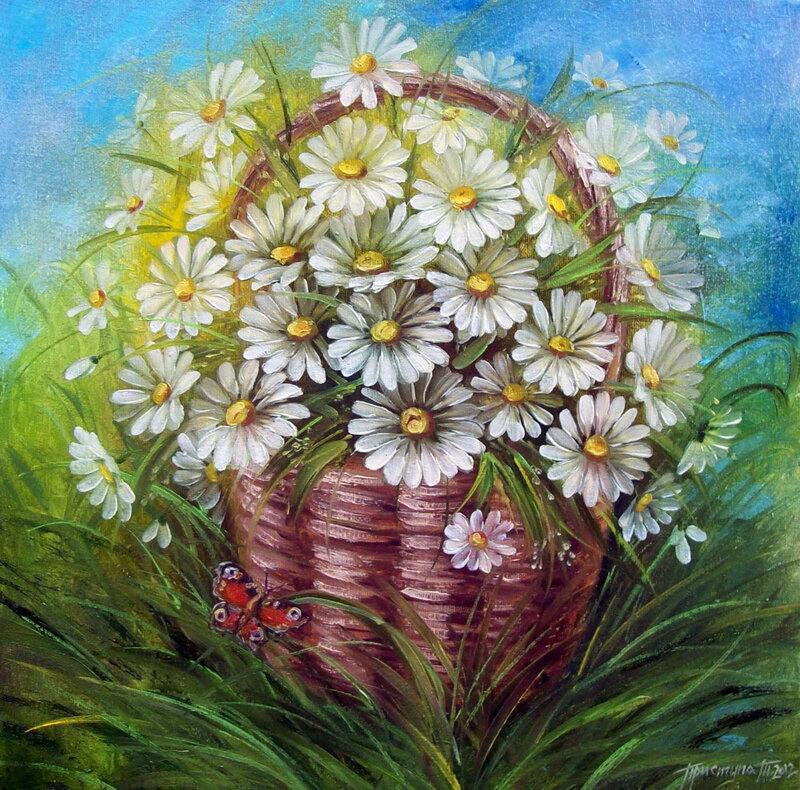 Картинки композиции цветов ромашки нарисованные, мая красивые прикольные