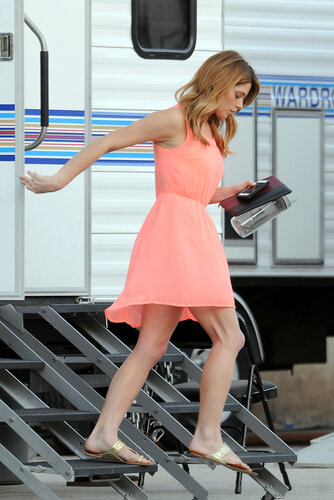 *EXCLUSIVE* Ashley Greene shows some leg on the set of 'Burying The Ex'