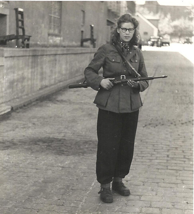 Danish partisan outside the Carlsberg Breweries, May 1945