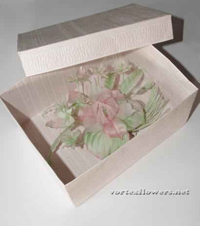 Как сделать коробку для цветка из ткани