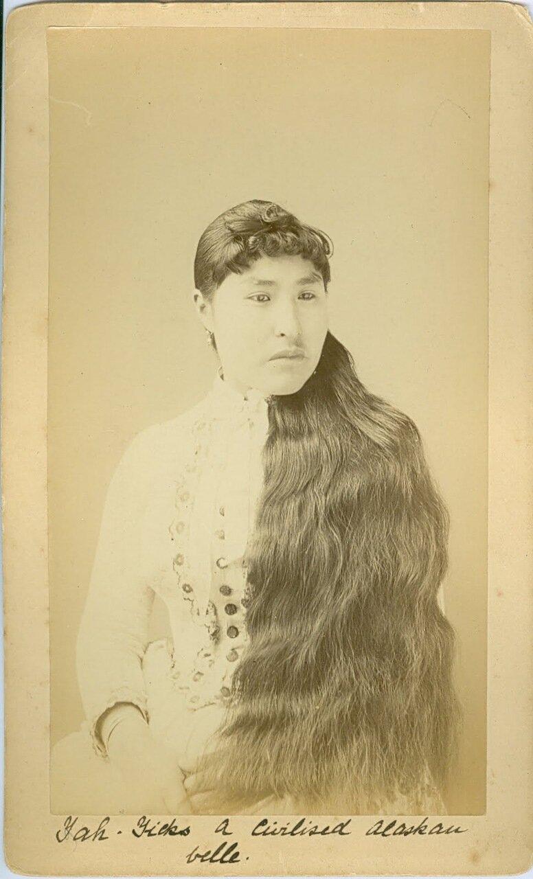 1880. Тлинкитка в европейской одежде. Ситка.