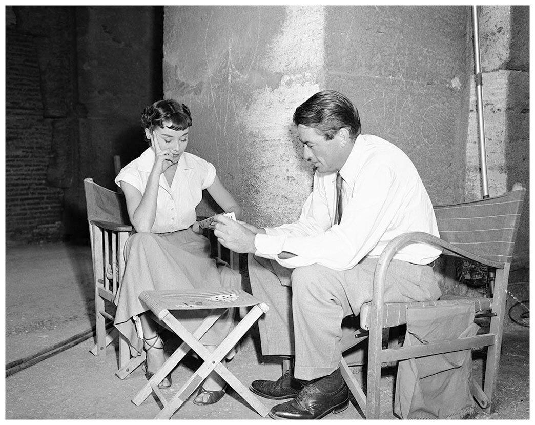 1952. Грегори Пек и Одри Хепбёрн на съемках «Римских каникул»