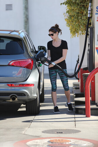 Ashley Greene seen pumping gas in Beverly Hills