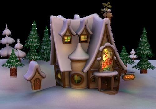 домик в лесу ночью
