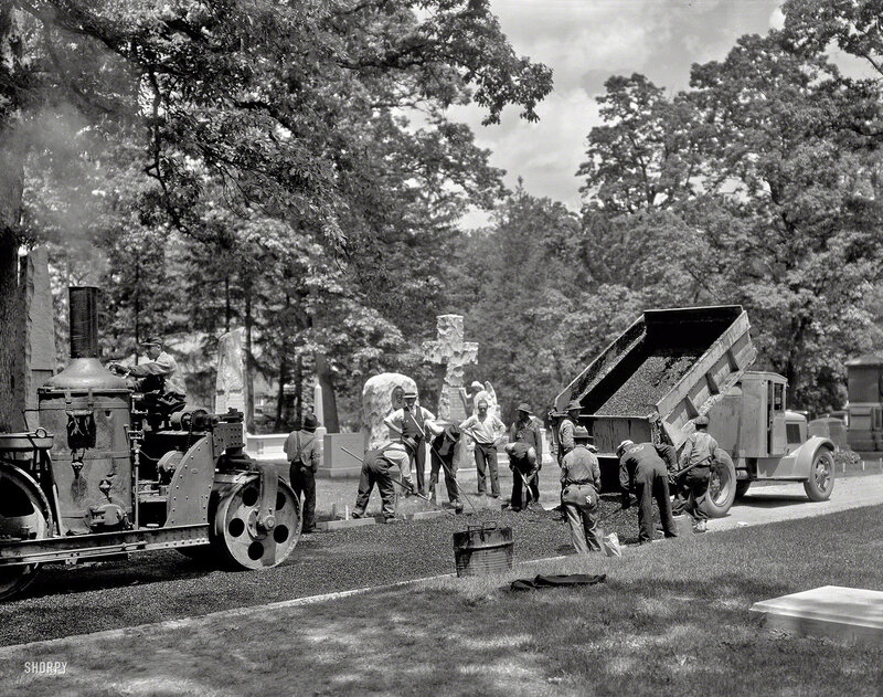 Arlington, Virginia, circa 1935. 'Union Paving Co. - Paving in Arlington National Cemetery.' On the left, a Buffalo Springfield steamroller that's the real deal, actually powered by steam